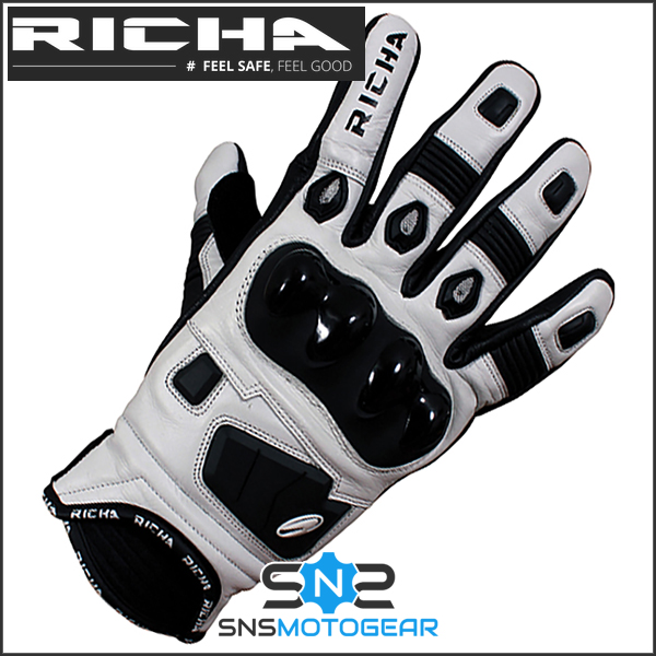 Richa Rock Short Leather Sports Racing Summer Motorcycle Gloves Black//White